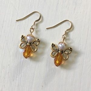 Jewelry - Gold Honey Bee Handmade Beaded Dangle Drop Earring